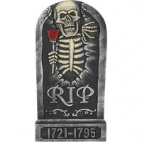 Grabstein Skelett mit Rose 65cm