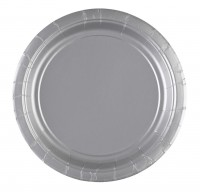 8 Pappteller Partytime Silber 17,7cm