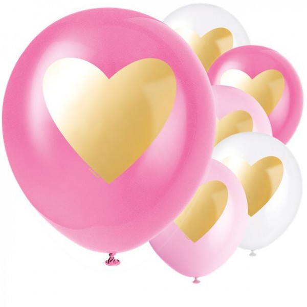 6 palloncini con cuore oro 30 cm