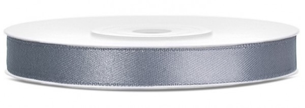 25m satin gift ribbon silver gray 6mm wide