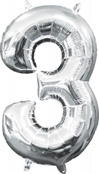 Mini ballon aluminium numéro 3 argent 35cm