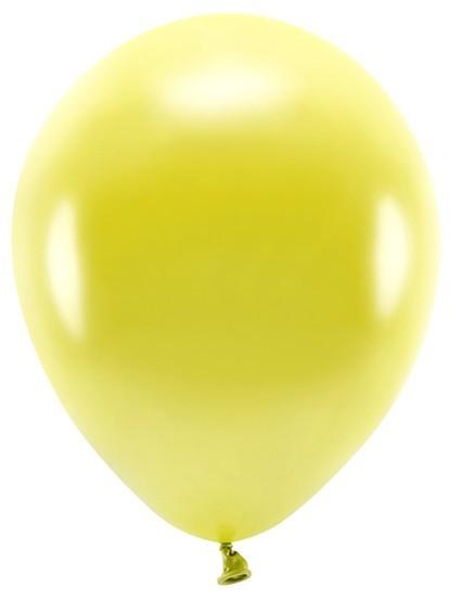 100 Eco metallic balloons yellow 30cm