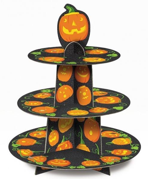 Présentoir à cupcakes à la citrouille d'Halloween
