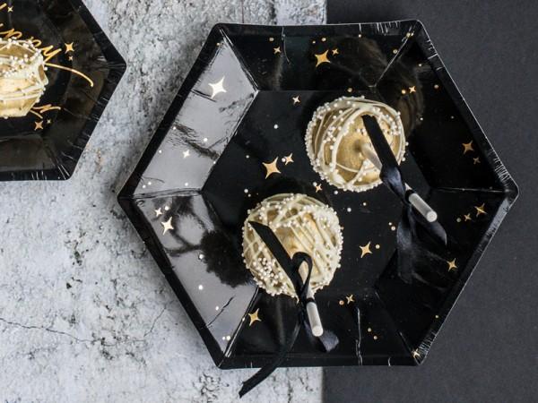 6 Sternenschimmer Pappteller 20cm