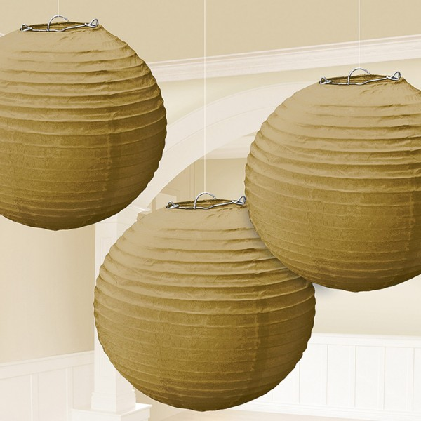 3 paper lanterns gold 20.4cm
