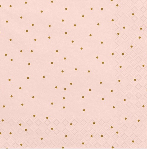 20 Napkins Pink with Gold Dots 33cm