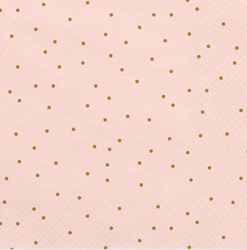 20 servilletas rosas con lunares dorados 33cm
