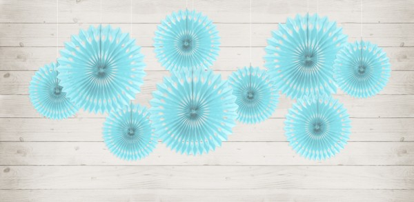 3 paper rosettes Kate ice blue