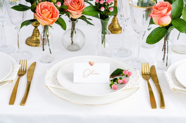 10 heart place cards rose gold