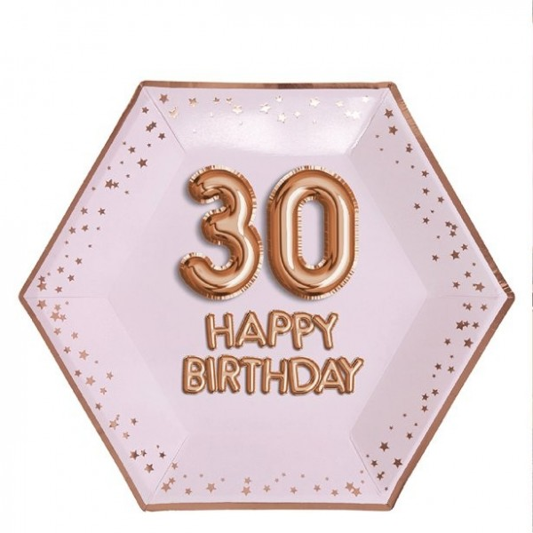 8 Glorious 30th Birthday paper plates 26cm