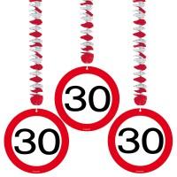 3 Verkehrsschild 30 Spiralhänger 75cm