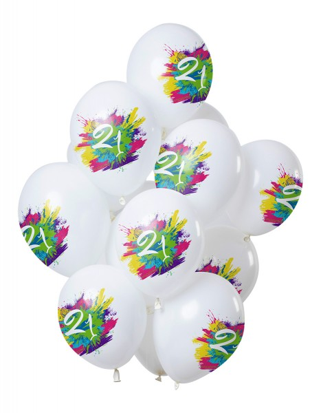 21e anniversaire 12 ballons en latex Color Splash