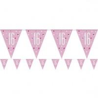 Sparkling Pink 16. Geburtstag Wimpelkette 2,75m