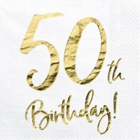 20 Glossy 50th Birthday Servietten 33cm