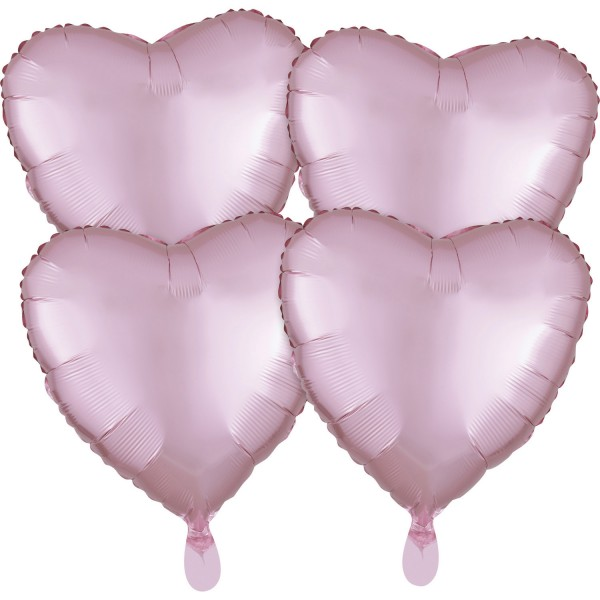 4 Satin Herzballons pastellrosa 43cm