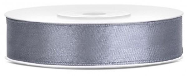 25m satin ribbon gray, 12mm wide