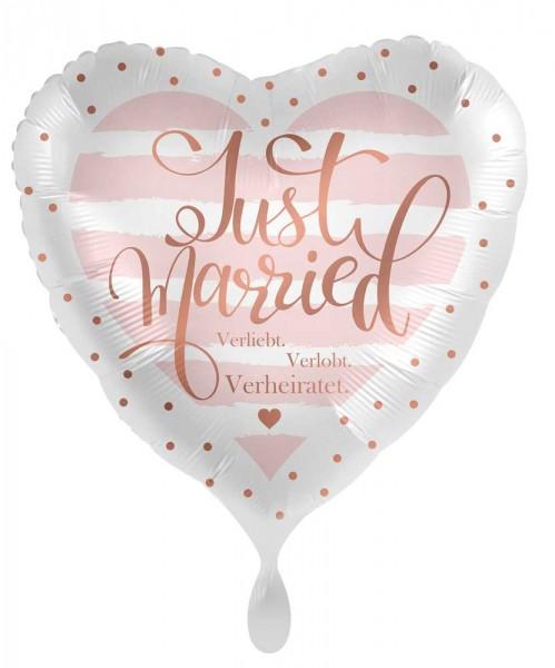 Ballon aluminium coeur Just Married 45cm