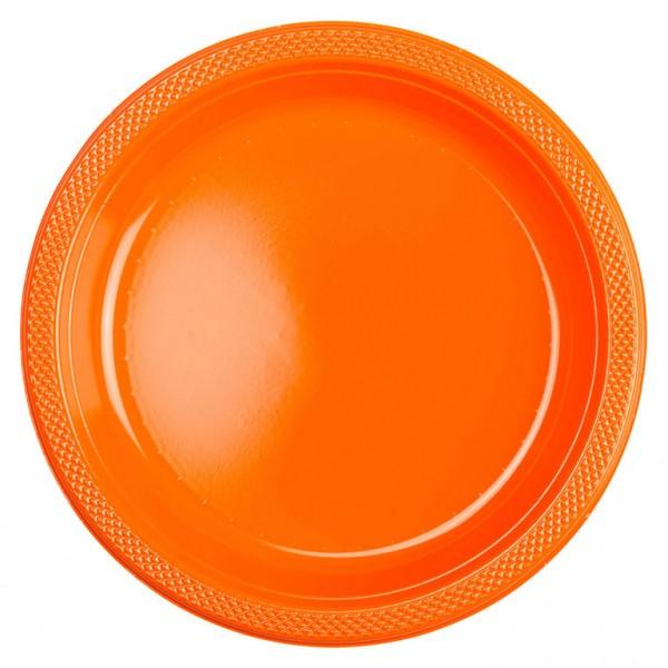 10 plastic plates Partytime Orange 22.8cm
