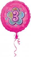 Folienballon Zahl 3 in Pink