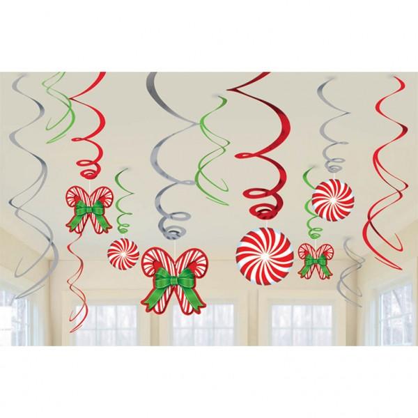 12 Sweet Christmas Spiral Streamers 61cm