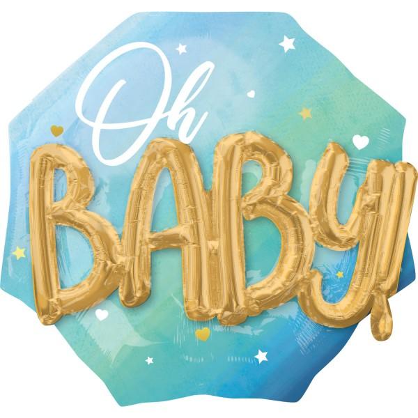 Ballon aluminium 3D Oh Baby bleu 71cm