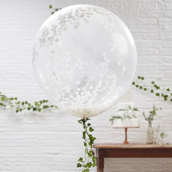 3 XL Confetti Balloons White 91cm