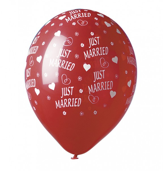 5 Just Married Luftballons Rot 30cm 1