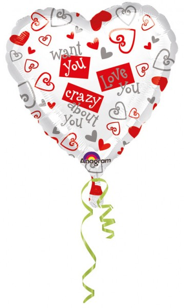 Heart balloon Crazy Love 45cm