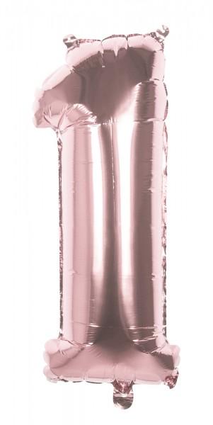 Ballon aluminium numéro 1 or rose 36cm