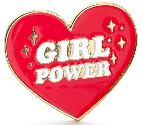Girl Power Herz Brosche 3 x 3cm