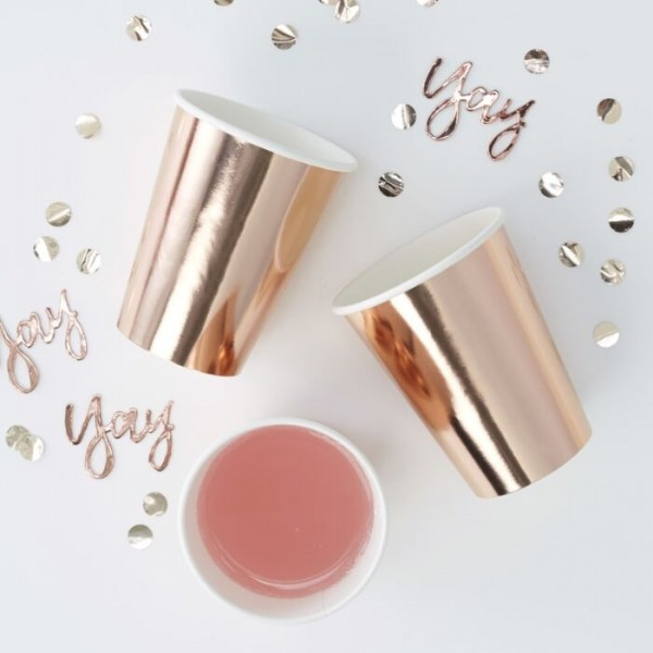 8 tasses de fête glamour or rose 255ml