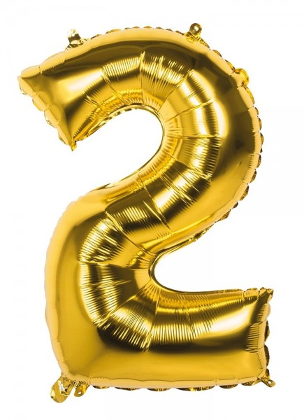 Foil balloon number 2 gold metallic 86cm