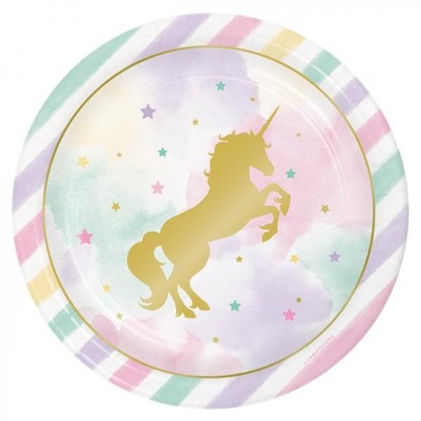 8 złotych papierowych talerzy Unicorn 23 cm