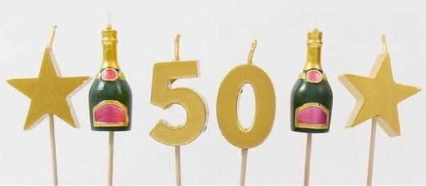 6 velas para tarta Saludos a los 50 años