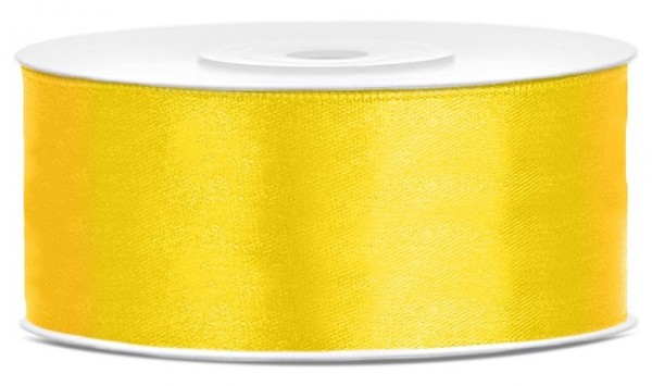 Ruban satin 25m jaune largeur 25mm