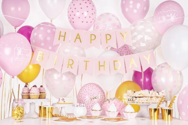 DIY Cheerful Birthday Girlande hellrosa 1,75m 3