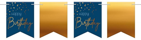 Happy Birthday pennant chain 6m Elegant blue