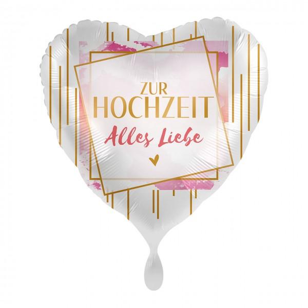 Zur Hochzeit Herz Folienballon 43cm