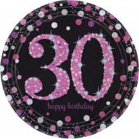 8 Pink 30th Birthday Pappteller 23cm