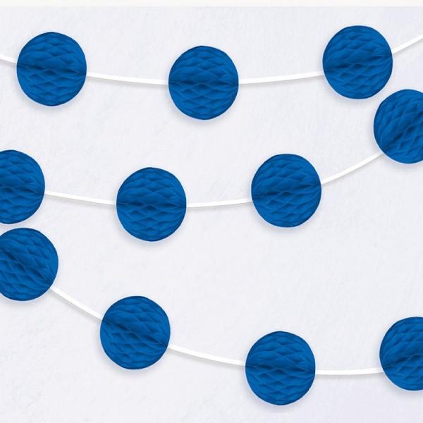 Guirnalda de bolas nido de abeja azul royal 213cm
