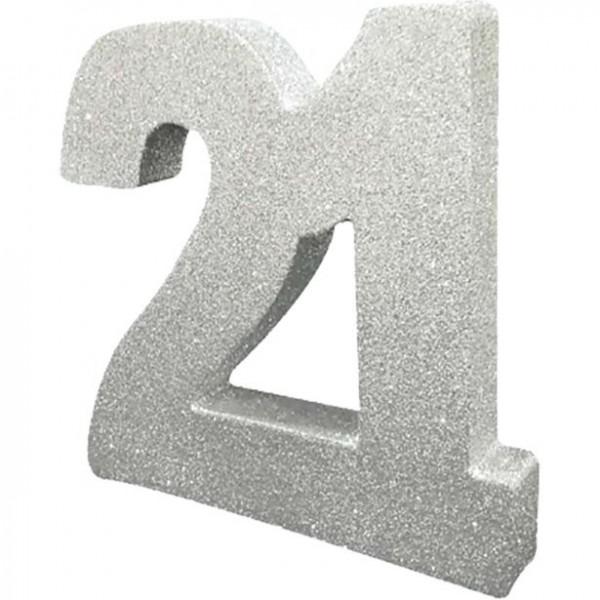 Decoración de mesa brillante número 21 de plata