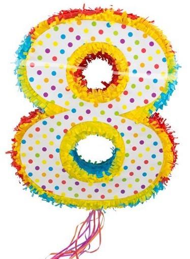 Pinata colorful number 8