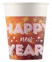 8 vasos Happy New Year 200 ml compostables