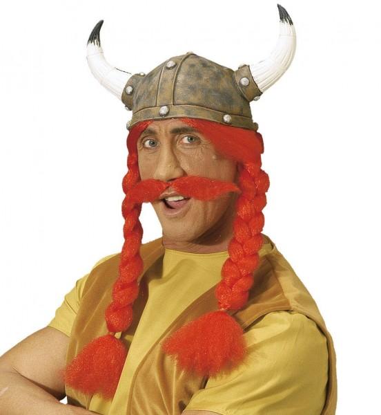 Gallischer Gallierfix Helm Mit Zöpfen Und Bart