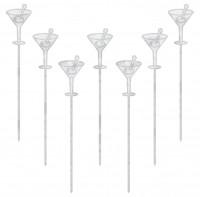 50 Stilvolle Martini Gläser Party Spieße Silber 10,1cm