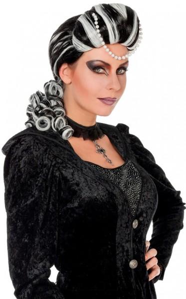 Perruque baroque vampire lady avec perles
