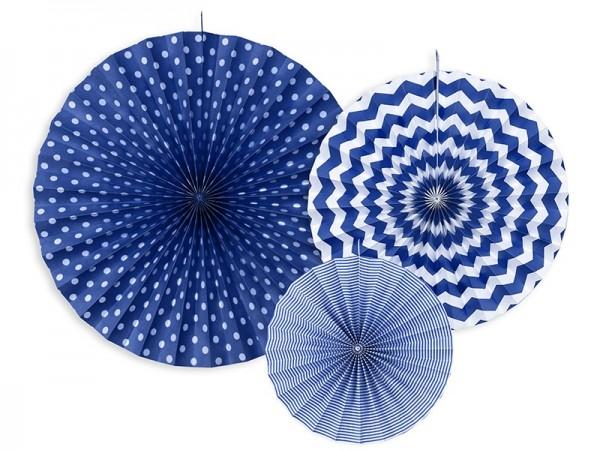 3 Muster Mix Papierrosetten royalblau