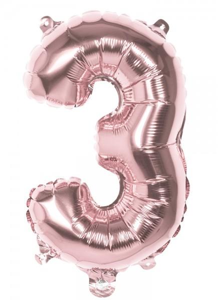Balon foliowy Cyfra 3 różowe złoto 36cm