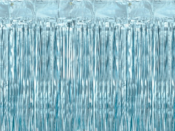 Baby Blue Metallic Tinsel Curtain 250 x 90cm