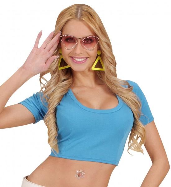 Blaues Bauchfrei-Shirt